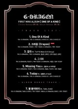 "G-Dragon Reveals Full Tracklist Of ""One Of A Kind"""