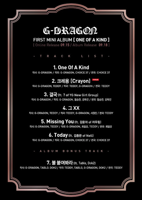 [Kpop] G-Dragon Reveals Full Tracklist Of