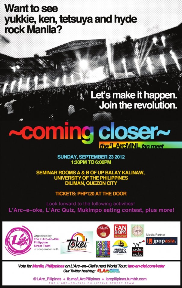 "L'Arc~en~Ciel Fan Meet ""Coming Closer"" To Be Held In The Philippines"