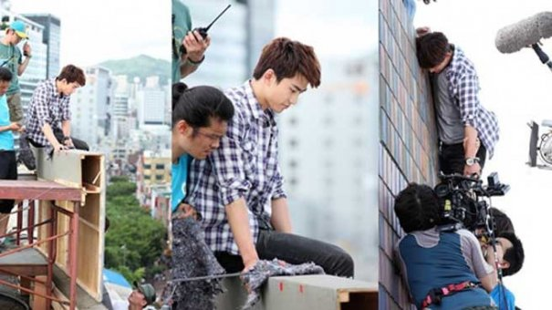 2PM's Taecyeon Films A Wire Action Scene For