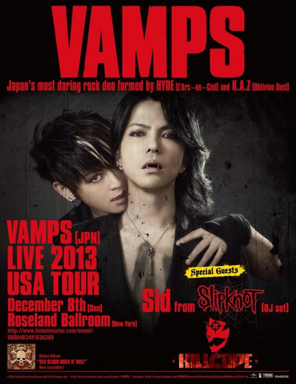 VAMPS Announce U.S. Tour Support Acts