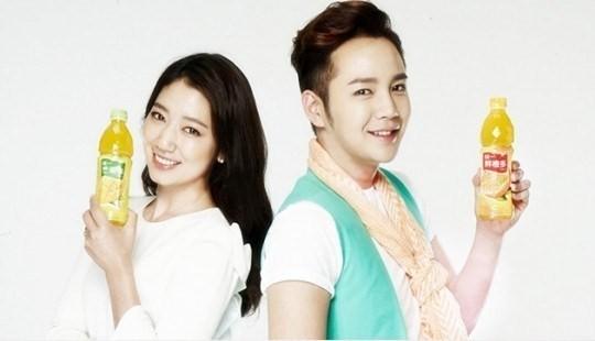 Park Shin Hye Reunites With Jang Geun Suk For Chinese Beverage Endorsement