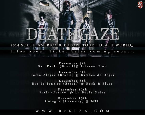 DEATHGAZE will Visit Europe and South America One Last Time before Going on Hiatus