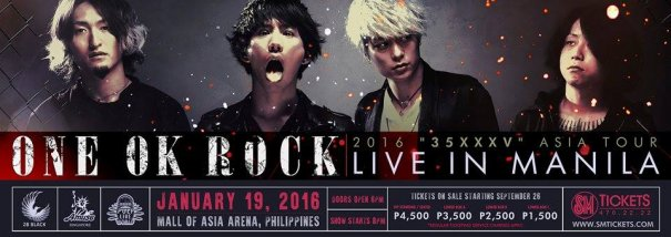 """Tickets Go on Sale this September 26th for ONE OK ROCK 2016 """"35xxxv"""" ASIA TOUR LIVE IN MANILA"""