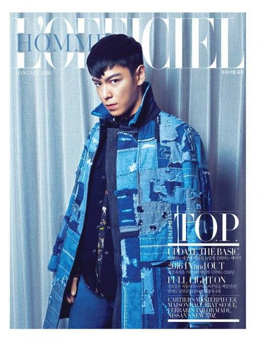Big Bang's T.O.P Graces January 2016 Cover of 'L'Officiel Hommes'