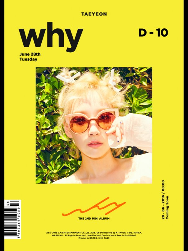 """Girls' Generation's Taeyeon to Comeback with 2nd Album """"Why"""""""