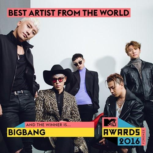 "BIGBANG Bags ""Best Artist from the World"" Award at the 2016 Italian MTV Awards"