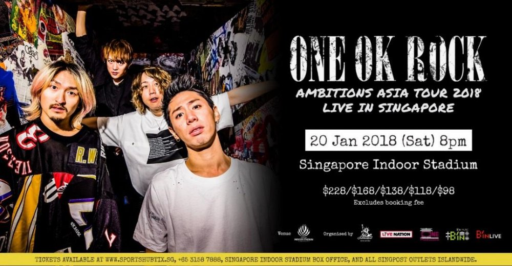 [Jrock] ONE OK ROCK to Perform in Singapore Indoor Stadium in 2018!